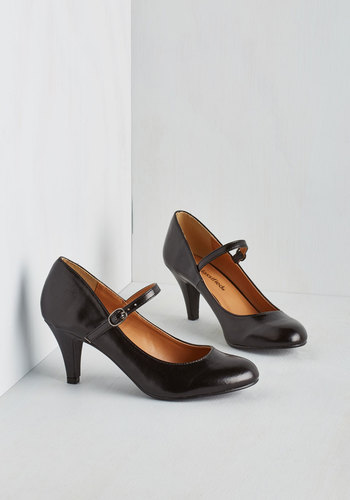 Talk of the Office Heel in Noir - Mid, Faux Leather, Black, Solid, Party, Vintage Inspired, 50s, Mary Jane, Work, Variation, Top Rated