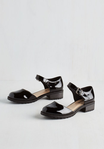 The Boss of Gloss Flat - Low, Faux Leather, Black, Solid, Urban, Minimal, Good, Mary Jane, Vintage Inspired, 90s, Chunky heel
