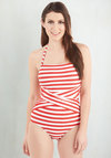 Down for a Dip One-Piece Swimsuit in Red and White