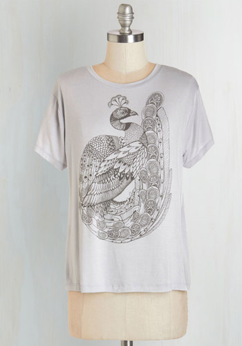 Flair-Feathered Friend Tee - Jersey, Knit, Cotton, Short, Grey, Print with Animals, Casual, Short Sleeves, Bird