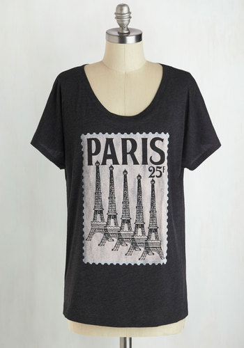 Postcard from Paris Tee - Mid-length, Jersey, Black, Casual, Short Sleeves, Scoop, Novelty Print, Travel, French / Victorian, Better, Best Seller, Black, Short Sleeve, Top Rated