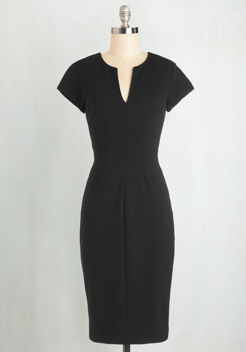 Enterprising Entrepreneur Dress in Black - Black, Variation, Solid, Party, Cocktail, LBD, Cap Sleeves, Better, V Neck, Knit, Work, Long, Pinup, Vintage Inspired, Bodycon / Bandage