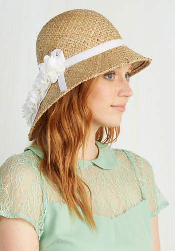Pure Edith Hat in White - Tan, White, Solid, Flower, Daytime Party, Vintage Inspired, 20s, 30s, Best, Variation, Beach/Resort, Summer