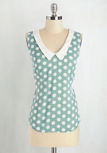 Summer Book Club Top in Mint - Green, White, Polka Dots, Peter Pan Collar, Casual, Vintage Inspired, 60s, Sleeveless, Collared, Green, Sleeveless, Mid-length, Spring, Top Rated, Work