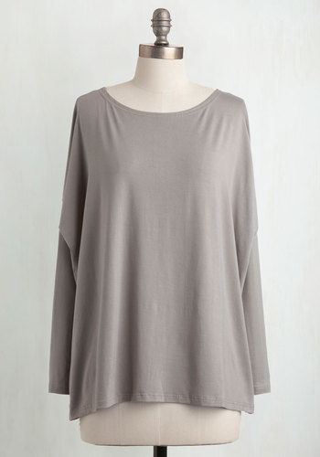 Simplicity Under the Sunrise Top in Pebble - Grey, Solid, Long Sleeve, Casual, Mid-length, Boat, Variation, Jersey, Cotton, Minimal, Better, Best Seller, Grey, Long Sleeve, Maternity, Fall, Good, 4th of July Sale, Lounge