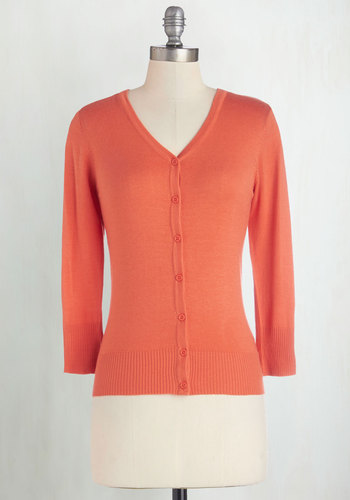 Charter School Cardigan in Cantaloupe - Casual, Orange, Solid, Buttons, Long Sleeve, Work, Variation, Basic, Best Seller, Orange, 3/4 Sleeve, Spring, Mid-length, 60s, Beach/Resort, Fruits, Knit, Good, 4th of July Sale, Daytime Party, As You Wish Sale, Colorsplash