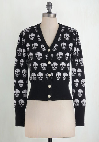 Skulls in Session Cardigan in Black - Black, White, Buttons, Casual, Long Sleeve, Novelty Print, Cotton, Steampunk, Best Seller, Button Down, V Neck, Variation, Winter, Fall, Statement, Halloween, Black, Long Sleeve, Quirky, Skulls, Knit, Good, 4th of July Sale, Top Rated