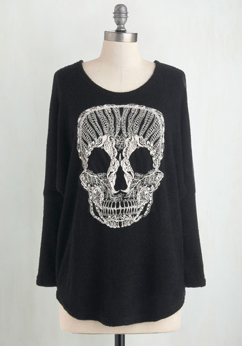 Get a Head Sweater - Black, White, Casual, Long Sleeve, Urban, Halloween, Black, Long Sleeve, Knit, Long, Best Seller, Novelty Print, Skulls, Good, 4th of July Sale, Top Rated