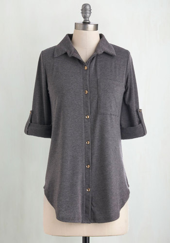 Keep it Casual-Cool Top in Charcoal - Grey, Solid, Buttons, Pockets, Casual, Short Sleeves, Collared, Menswear Inspired, Variation, Grey, Tab Sleeve, Best Seller, Fall, Mid-length, Good, 4th of July Sale