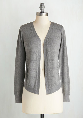 Textbook Cutie Cardigan in Grey - Knit, Grey, Solid, Casual, Long Sleeve, Good, Scholastic/Collegiate, Grey, Long Sleeve, Best Seller, Fall, 4th of July Sale, Top Rated, Mid-length
