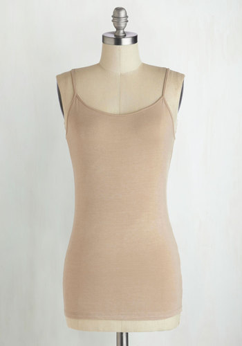 A Layer to Love Top in Beige - Jersey, Mid-length, Tan, Solid, Casual, Spaghetti Straps, Minimal, Knit, Variation, Basic, Scoop, Summer, Brown, Sleeveless, Best Seller, Good, Lounge