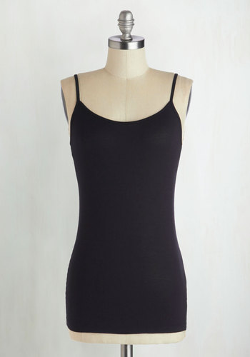 A Layer to Love Top in Black - Jersey, Mid-length, Basic, Black, Solid, Casual, Spaghetti Straps, Minimal, Knit, Variation, Scoop, Black, Sleeveless, Top Rated