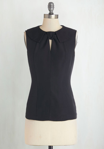 A Fine Byline Top in Ink by Myrtlewood - Black, Solid, Work, Sleeveless, Exclusives, Private Label, Black, Sleeveless, Peter Pan Collar, Variation, Woven, Mid-length