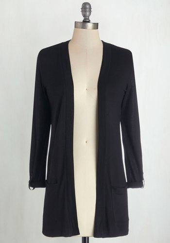 Top of the Incline Cardigan in Black - Knit, Mid-length, Black, Solid, Casual, Long Sleeve, Good, Variation, Black, Long Sleeve