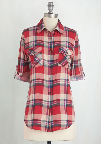 Record Swap Top - Red, Plaid, Buttons, Pockets, Casual, 3/4 Sleeve, Fall, Collared, Red, Tab Sleeve, Scholastic/Collegiate, Work, Long