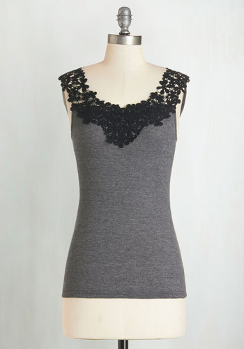Dessert is Served Top in Charcoal - Grey, Sleeveless, Mid-length, Knit, Grey, Solid, Lace, Casual, Sleeveless, Black