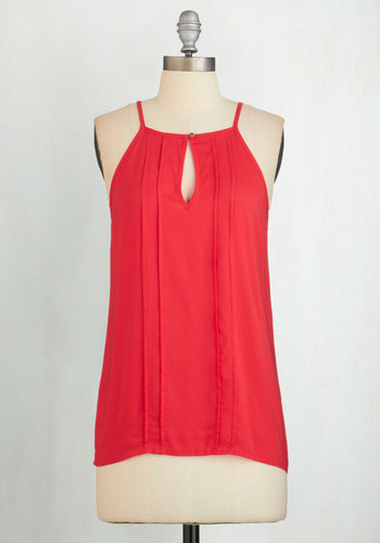Style a Minute Top in Crimson - Red, Solid, Cutout, Spaghetti Straps, Summer, Red, Sleeveless, Casual, Variation, Good, Mid-length, Valentine's