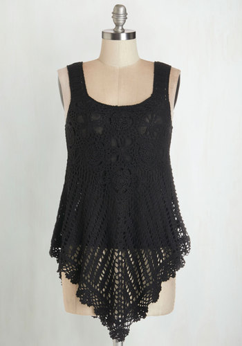 Share Thing Top in Black - Long, Knit, Lace, Black, Knitted, Casual, Beach/Resort, Boho, 70s, Festival, Sleeveless, Spring, Summer, Better, Scoop, Black, Sleeveless, Variation, Good, Girls Night Out