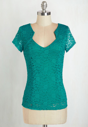 Lacy Afternoon Top - Woven, Lace, Green, Solid, Lace, Work, Daytime Party, Vintage Inspired, Short Sleeves, Green, Short Sleeve