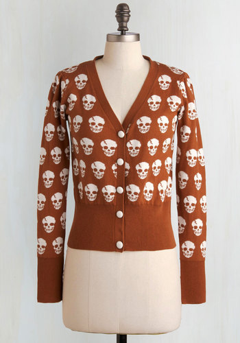 Skulls in Session Cardigan in Burnt Sienna - White, Print, Casual, Long Sleeve, Fall, Brown, Steampunk, Cotton, Best Seller, Button Down, V Neck, Variation, Statement, Halloween, Brown, Long Sleeve, Novelty Print, Skulls, Knit, Good