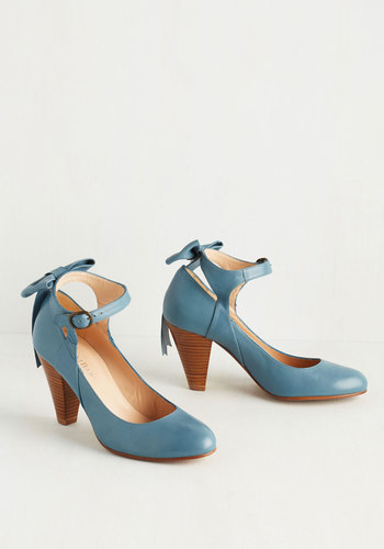 Bow My Darling Heel in Sky - Blue, Solid, Bows, Wedding, Mid, Leather, Bride, Press Placement, Spring