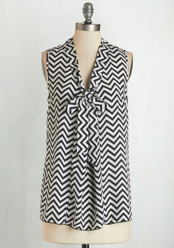 Best Workday Ever Top in Chevron - Sheer, Woven, Black, White, Chevron, Tie Neck, Work, Sleeveless, Variation, Mid-length, Basic