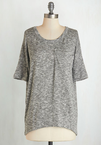 Conference on the Couch Top - Knit, Grey, Solid, Pockets, Casual, Short Sleeves, Basic, Scoop, Grey, Short Sleeve, Top Rated