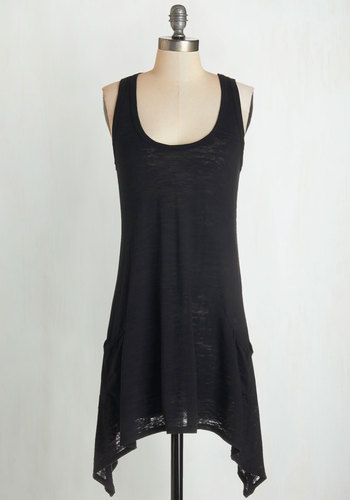 Swingy Fling Tunic - Knit, Black, Solid, Handkerchief, Pockets, Casual, Tank top (2 thick straps), Scoop