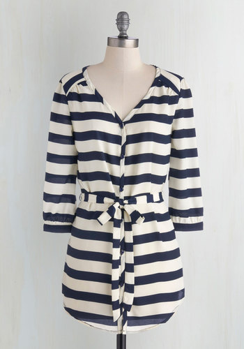 Patisserie Picks Tunic in Stripes - Woven, White, Stripes, Belted, Casual, 3/4 Sleeve, Exclusives, Blue, Nautical, Blue, 3/4 Sleeve, Long