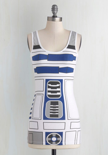 You R2 Cute Top - White, Novelty Print, Tank top (2 thick straps), Better, Mid-length, Cotton, Blue, Halloween, White, Sleeveless, Sci-fi, Casual, Nifty Nerd