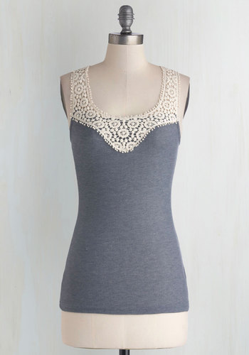 DIY Day Top in Slate - Sheer, Knit, Woven, Grey, White, Solid, Crochet, Lace, Grey, Sleeveless, Good, Tank top (2 thick straps), Scoop, Lace, Mid-length