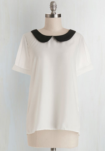 Guest Appearance Top in White - White, Black, Casual, Short Sleeves, Collared, Chiffon, Sheer, Woven, Solid, Peter Pan Collar, Work, White, Short Sleeve, Mid-length, Scholastic/Collegiate