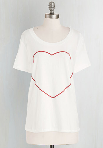Your Heart's Content Tee by MNKR - White, Short Sleeve, Cotton, Knit, Mid-length, White, Red, Novelty Print, Casual, Valentine's, Short Sleeves, Scoop, Summer, Good
