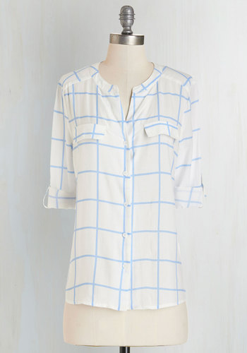 Picture Window View Top - White, Long Sleeve, Mid-length, Sheer, Woven, White, Blue, Print, Casual, Long Sleeve, Checkered / Gingham, Buttons, Pockets