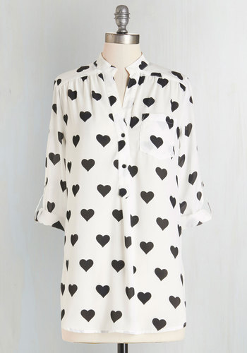 Love Ballad Tunic in White and Black - Long, Sheer, Woven, White, Black, Novelty Print, Buttons, Work, 3/4 Sleeve, White, Tab Sleeve, Valentine's