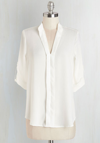 Day Off to a Great Start Top - Mid-length, Sheer, Woven, White, Solid, Work, 3/4 Sleeve, V Neck