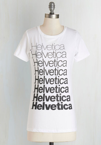 A Font Farewell Top - Knit, White, Black, Novelty Print, Casual, Nifty Nerd, Short Sleeves, Crew, Black/White, Short Sleeve