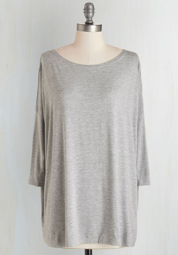 Simplicity Under the Sunset Top in Mist - Knit, Grey, Solid, Casual, Eco-Friendly, 3/4 Sleeve, Variation, Basic, Scoop, Fall, Grey, 3/4 Sleeve