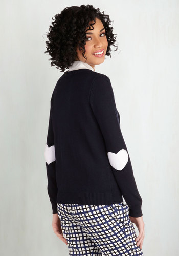 We're Young at Heart Cardigan in Navy - Blue, Long Sleeve, Blue, Solid, Work, Darling, Long Sleeve, White, Buttons, Patch, Scholastic/Collegiate, Cotton, Knit, Mid-length, Fall, Winter, Valentine's, Top Rated