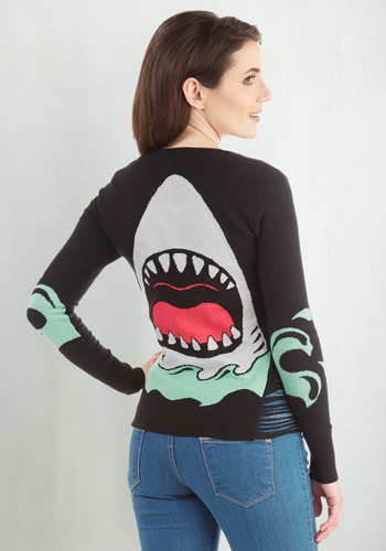 Jaw-Dropping Style Cardigan - Black, Long Sleeve, Black, Print with Animals, Embroidery, Nautical, Quirky, Critters, Long Sleeve, Multi, Top Rated