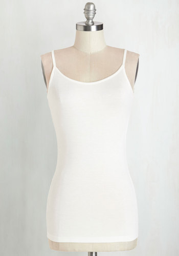 A Layer to Love Top in Eggshell - Mid-length, Jersey, Knit, White, Solid, Casual, Spaghetti Straps, Summer, Variation, White, Sleeveless, Scoop, Basic