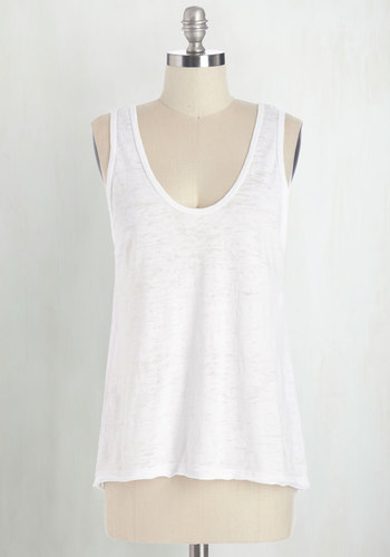 Basically Cool Top in White - Mid-length, Sheer, Knit, White, Solid, Casual, Tank top (2 thick straps), Summer, White, Sleeveless, Basic, Scoop, Good, Lounge