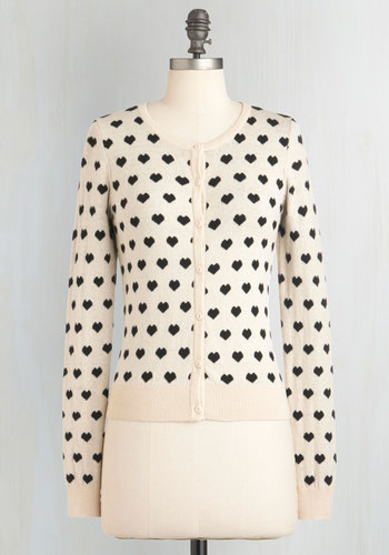 Best Heart About It Cardigan - Cream, Black, Buttons, Casual, Long Sleeve, White, Long Sleeve, Valentine's, Best Seller, Novelty Print, Fall, Knit, Good, 4th of July Sale, Spring, Short