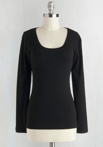 Simply Ink Top in Black - Black, Solid, Casual, Long Sleeve, Cotton, Mid-length, Minimal, Scoop, Travel, Black, Long Sleeve, Best Seller, Good, 4th of July Sale
