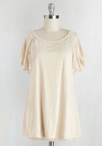 Breakfast in Bed-Stuy Top in Oatmeal - Sheer, Cream, Solid, Lace, Casual, Short Sleeves, Spring, Jersey, Knit, Mid-length, Best Seller, Scoop, Short Sleeve, White, Better, Lace, Summer, Maternity, Good, 4th of July Sale