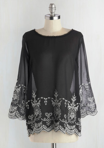 Fete for Print Top - Black, White, Buttons, Embroidery, Daytime Party, 3/4 Sleeve, Chiffon, Sheer, Woven, 20s, Mid-length, Black, Long Sleeve, Wedding