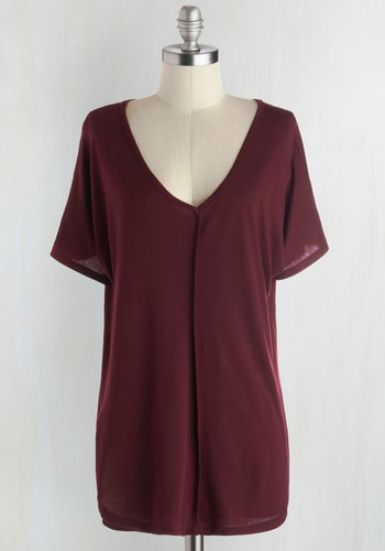 Morning in the Studio Top in Burgundy - Red, Solid, Short Sleeves, Good, Mid-length, Jersey, Knit, Casual, Minimal, V Neck, Variation, Red, Short Sleeve