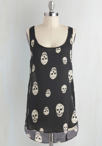 Skull-lastic Looks Top - Black, Casual, Urban, Sleeveless, Sheer, Novelty Print, Mid-length, Scoop, Summer, Halloween, Black, Sleeveless, Festival, Good, Skulls