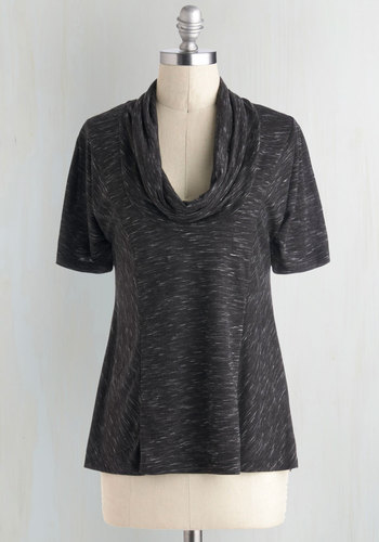 Overnight Travel Top in Pepper - Black, Casual, Short Sleeves, Cowl, Exclusives, Variation, Travel, Mid-length, Minimal, Better, Best Seller, Black, Short Sleeve, Fall, Knit, Good, 4th of July Sale