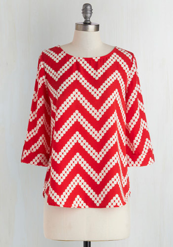 Amaryllis Adventure Top in Chevron Dots - Red, White, Polka Dots, Chevron, Buttons, 3/4 Sleeve, Chiffon, Mid-length, Work, Casual, Boat, Red, Tab Sleeve